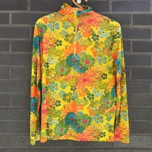 Vintage Tops - 1960s/70s Vintage Acid Yellow Floral Turtleneck